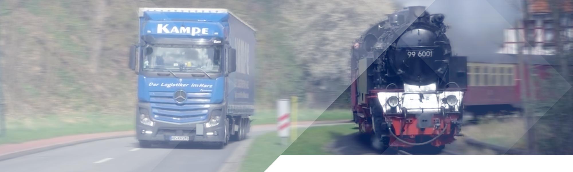 Kopfgrafik - LKW fährt auf Landstraße neben Eisenbahn