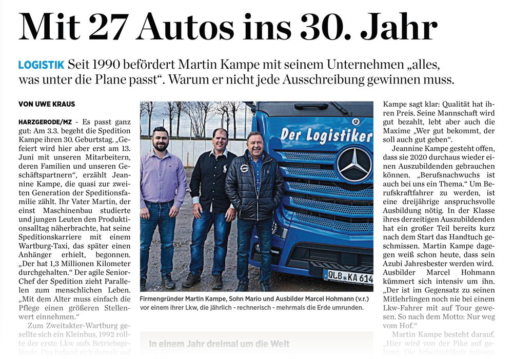 Seit 30 Jahren – Der Logistiker im Harz